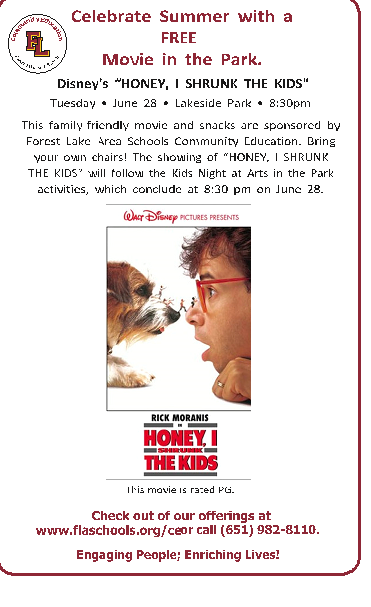 "Free Movie in the Park. Disney's ""Honey, I Shrunk the Kids"""