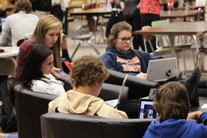 Students Working in Media Center with Technology