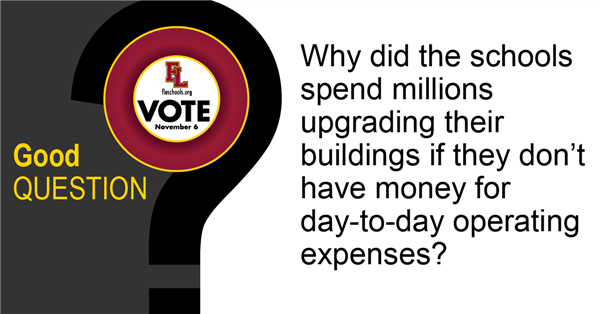 Why did the district spend millions upgrading facilities if they don't have the money for day-to-day expenses?