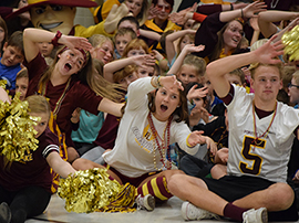 High school students dressed in spirit wear lead a cheer for elementary students