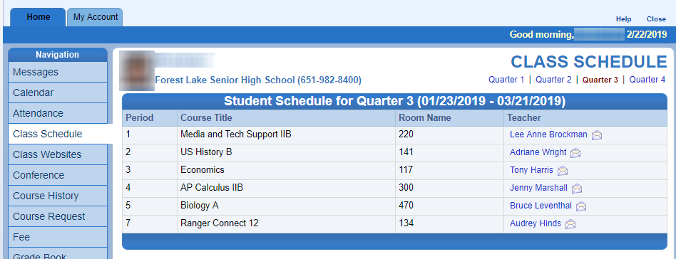 Screen Capture of Student Schedule