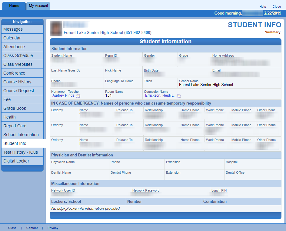 Screen Capture of Student Info Page