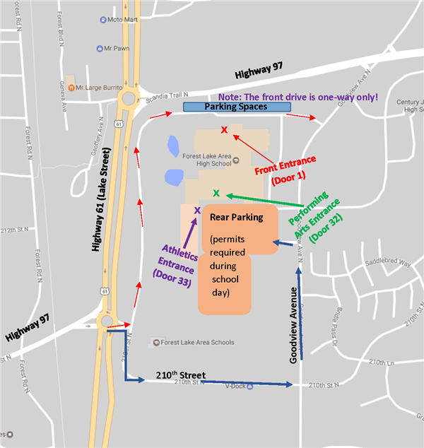 Map to Parking Areas Around High School